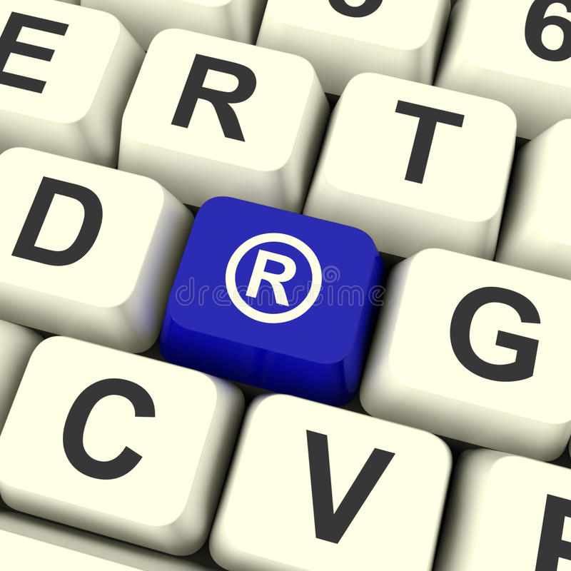 Patente o marca registrada que muestra dominante azul registradoa del ordenador imagenes de archivo