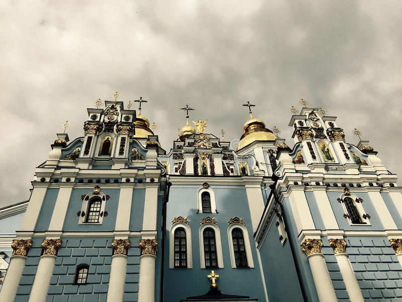 The patented blue and gold churches of Kyiv - UKRAINE - ORTHODOX. Kiev is the capital city of Ukraine, bisected by the Dnieper River and known for its religious royalty free stock photo