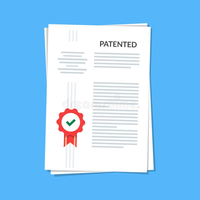 Patented document with approved stamp. Registered intellectual property, idea of patent license certificate. vector icon. Illustration, flat cartoon paper doc stock illustration
