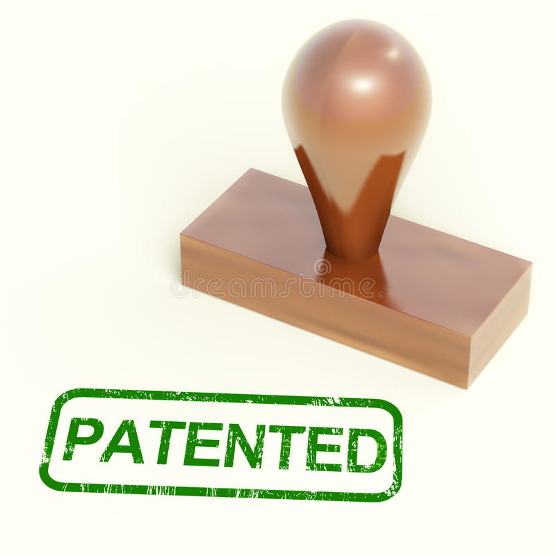 Patented Stamp Shows Trademark Patent Or Registered stock illustration