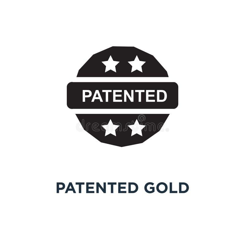 Patenterad guld- symbol Enkel beståndsdelillustration Patenterat guld- c royaltyfri illustrationer