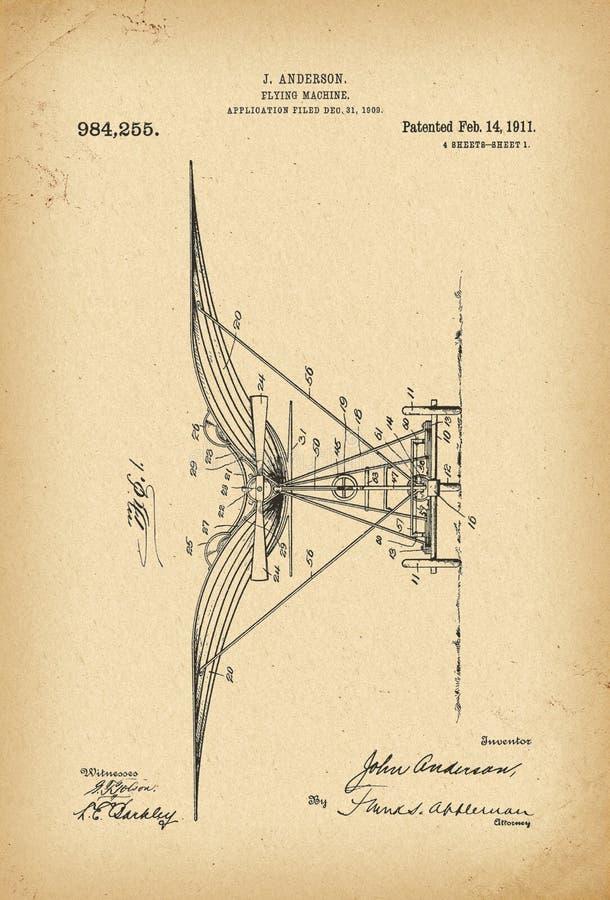 Patenterad uppfinning för historia för maskin för flyg 1911 stock illustrationer