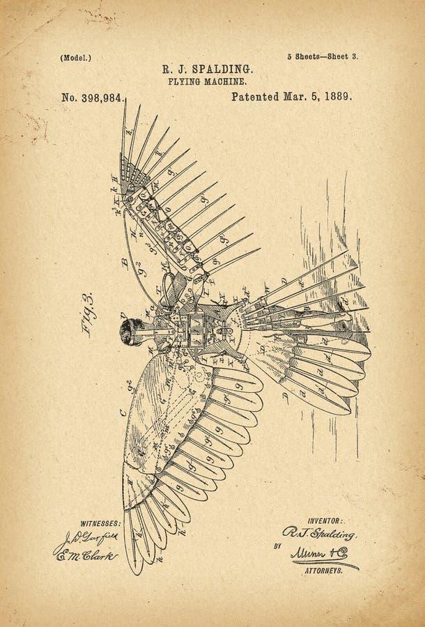 Patenterad uppfinning för historia för maskin för flyg 1889 vektor illustrationer