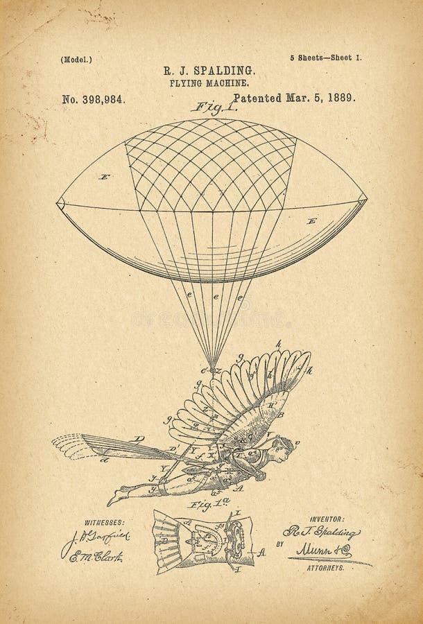 Patenterad uppfinning för historia för skepp för luft för maskin för flyg 1889 stock illustrationer