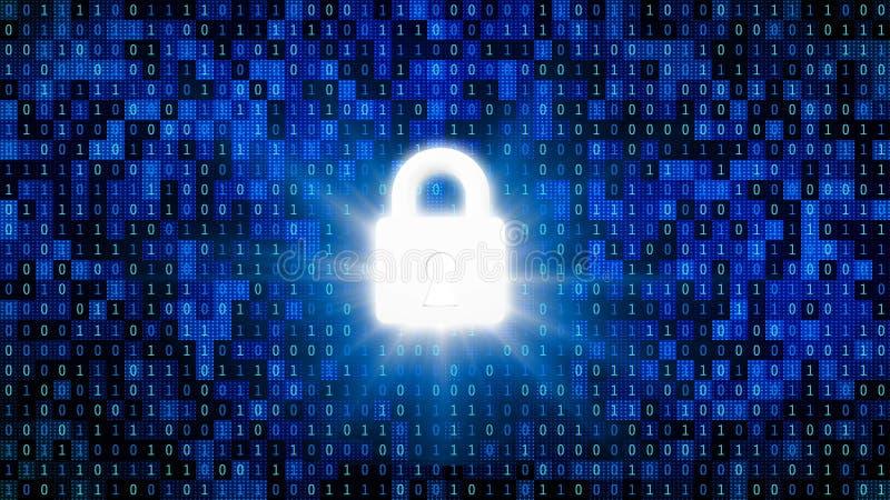 Patentlås för skyddande lösenord med 01 eller binära nummer på datorskärmen på bildskärmbakgrundsmatrisen, Digitala data vektor illustrationer