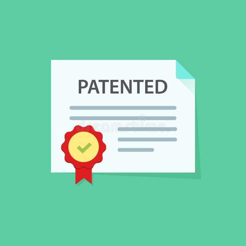 Patentowany dokument z zatwierdzoną stemplową wektorową ikony ilustracją, płaskim kreskówka papierem doc i gumowymi foka sposobam ilustracja wektor