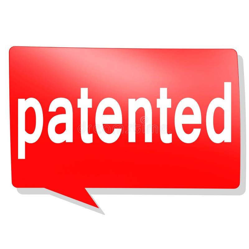 Patentowany słowo na czerwonym mowa bąblu royalty ilustracja