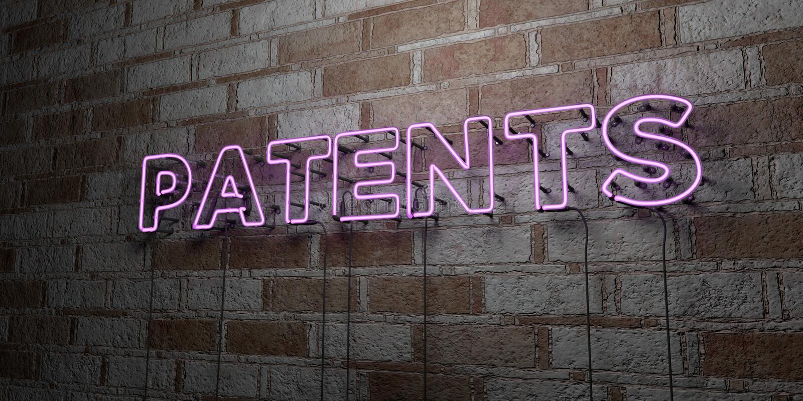 PATENTS - Glowing Neon Sign on stonework wall - 3D rendered royalty free stock illustration. Can be used for online banner ads and direct mailers stock illustration