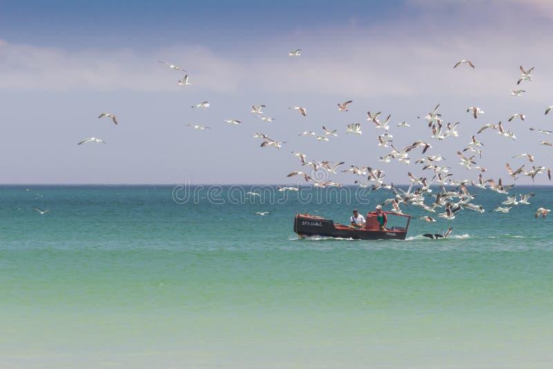 Pater, Afrique du Sud - 22 décembre 2018 : Bateau de pêche maritime avec deux pêcheurs et leur crochet avec des mouettes suivant  photo stock
