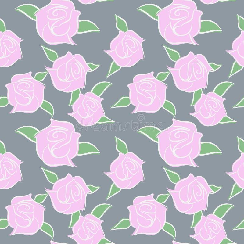 Patern розовых роз безшовное Цветки в пастельных цветах Вектор fl бесплатная иллюстрация