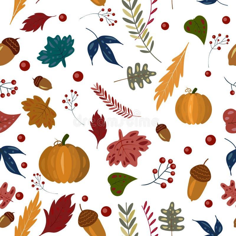 Patern с тыквой, листья осени безшовное падения, жолуди бесплатная иллюстрация