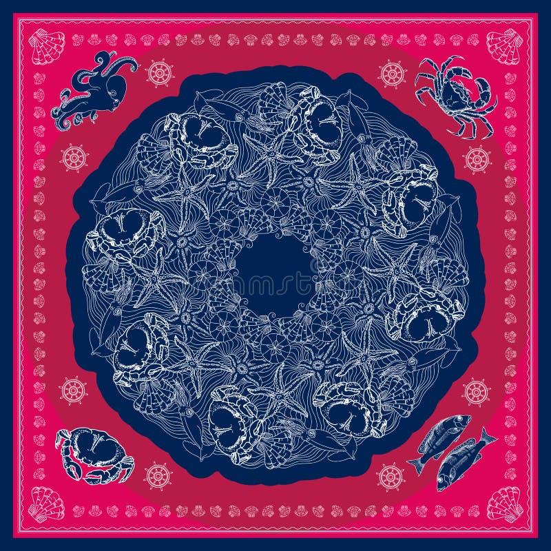 Patern design för blå och rosa marin- bandanafyrkant vektor illustrationer