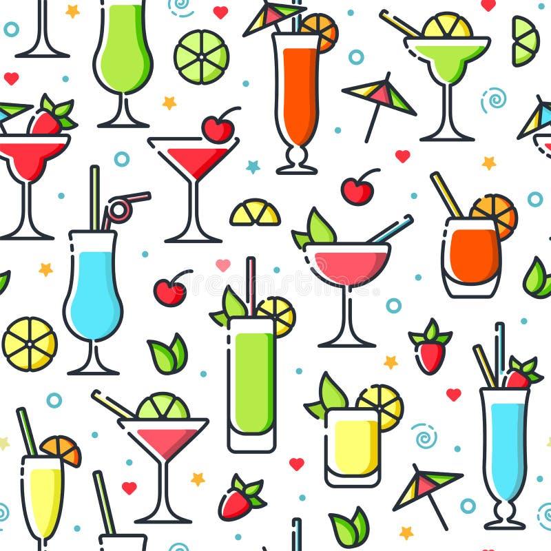 Patern inconsútil con diversos cócteles del alcohol stock de ilustración