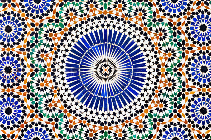 Patern in Morocco. Pattern design element of the Dar Jamai Museum in El Hedim square in Meknes, Morocco royalty free stock images