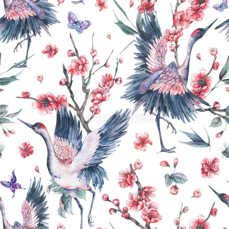 Patern sans couture d'aquarelle avec la grue, soutien-gorge de floraison de fleurs roses illustration de vecteur