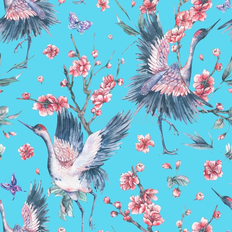 Patern sans couture d'aquarelle avec la grue, soutien-gorge de floraison de fleurs roses illustration stock