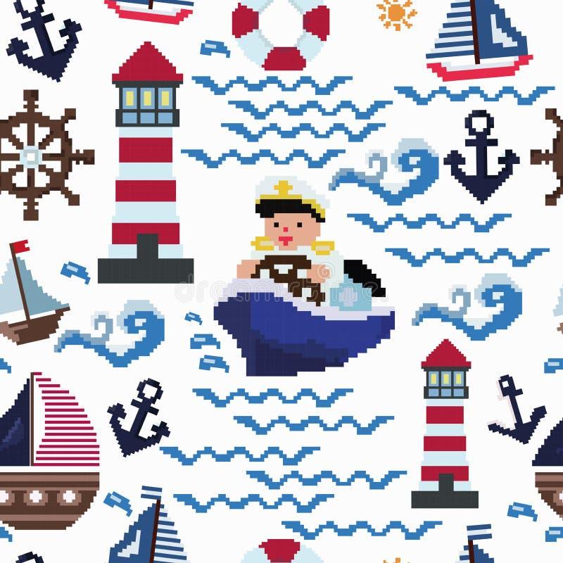 Patern sans couture sur le thème marin peint dans le plan de broderie de style d'art de pixel illustration stock