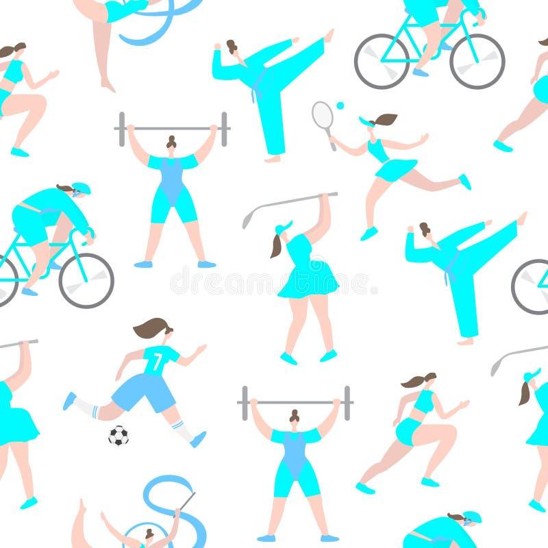 Patern sem emenda dos personagens de banda desenhada do esporte profissional das mulheres ilustração stock