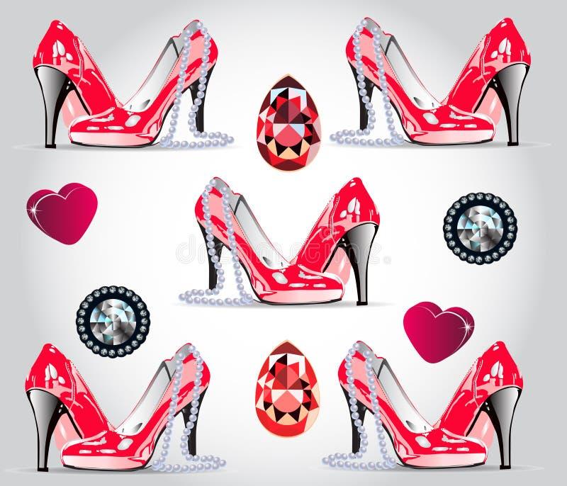Patern sem emenda glamoroso Sapatas vermelhas da patente, corações, diamantes, rubis, uma colar da pérola ilustração do vetor