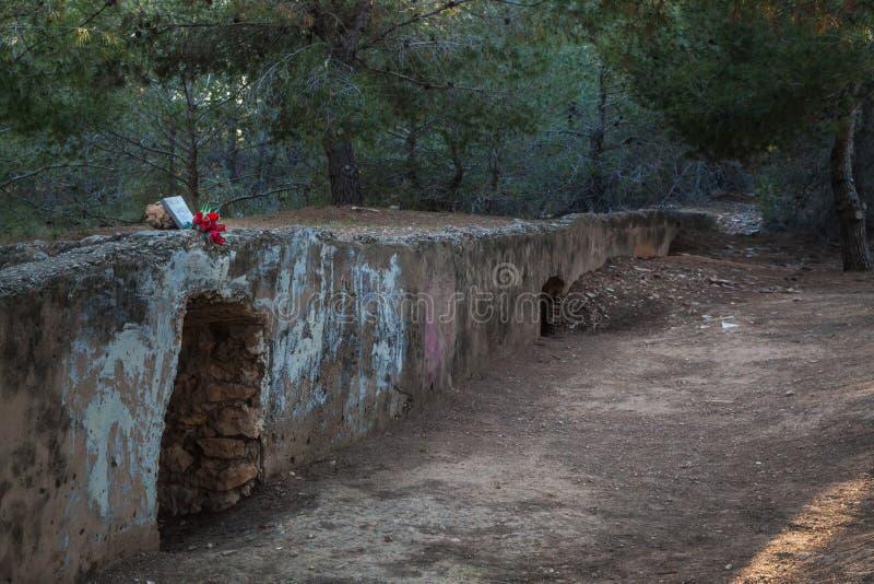 PATERNA, VALENCE/ESPAGNE 12ème, 2018 Mur de mise à feu où les fascistes tirer et tuer les faithfuls au Republica après le Spani photographie stock libre de droits