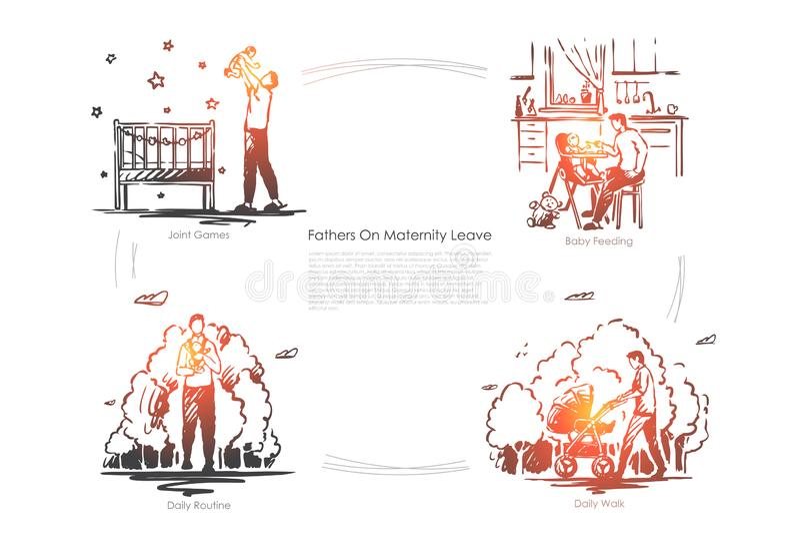 Paternidade, puericultura, beb? que alimenta, rotina di?ria, pai com a crian?a na caminhada, babysitting, bandeira da paternidade ilustração stock