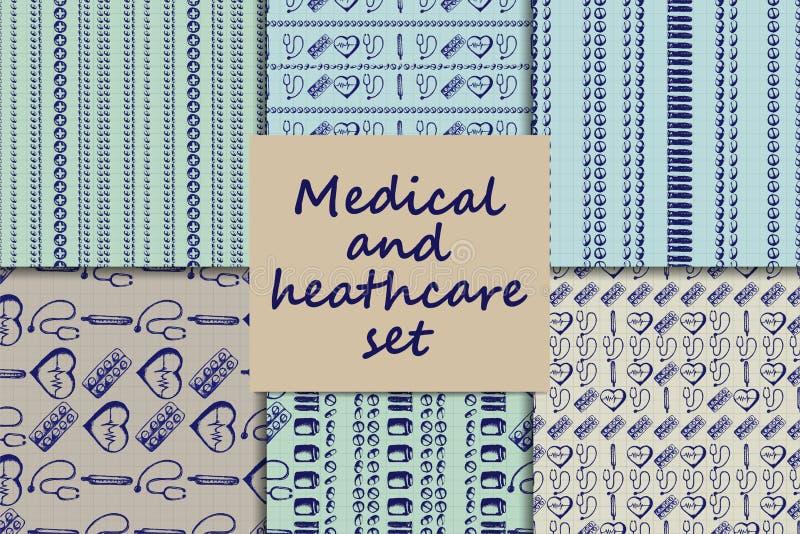 Paterns inconsútiles del garabato del vector Iconos de la medicina fijados libre illustration