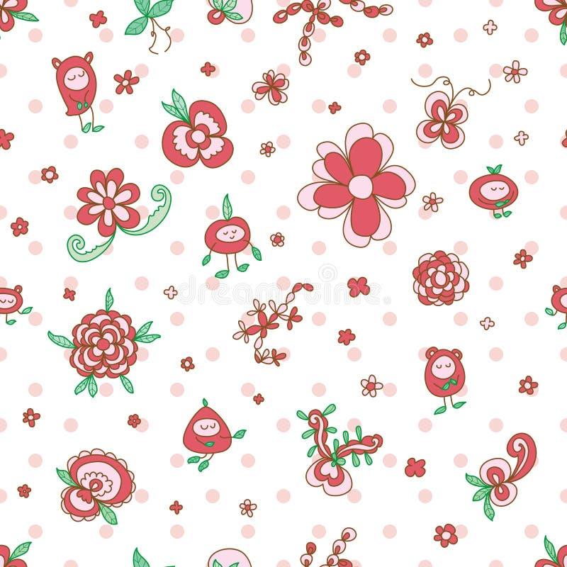 Patetrn sans couture de feuille féerique de fleur illustration stock