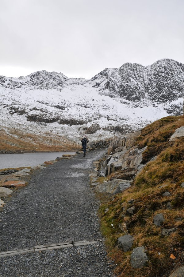 Path. Mountain path in Snowdonia park, Wales stock image