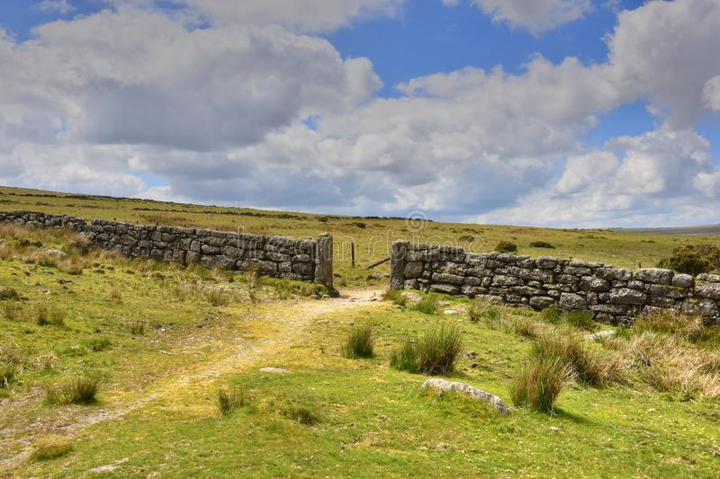 Path across Moorland Landscape of South West England stock photos