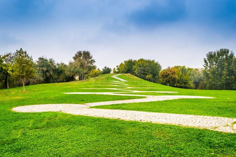 Path in Park. Path in Alexandru Ioan Cuza IOR Park, Bucharest, Romania stock images