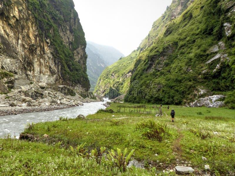 Path along a river Marsyangdi. Marsyangdi river valley - Annapurna circuit trek in Nepal royalty free stock photos