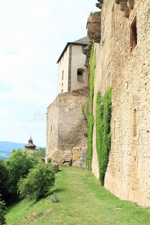 Path along wall of Castle Lipnice royalty free stock images