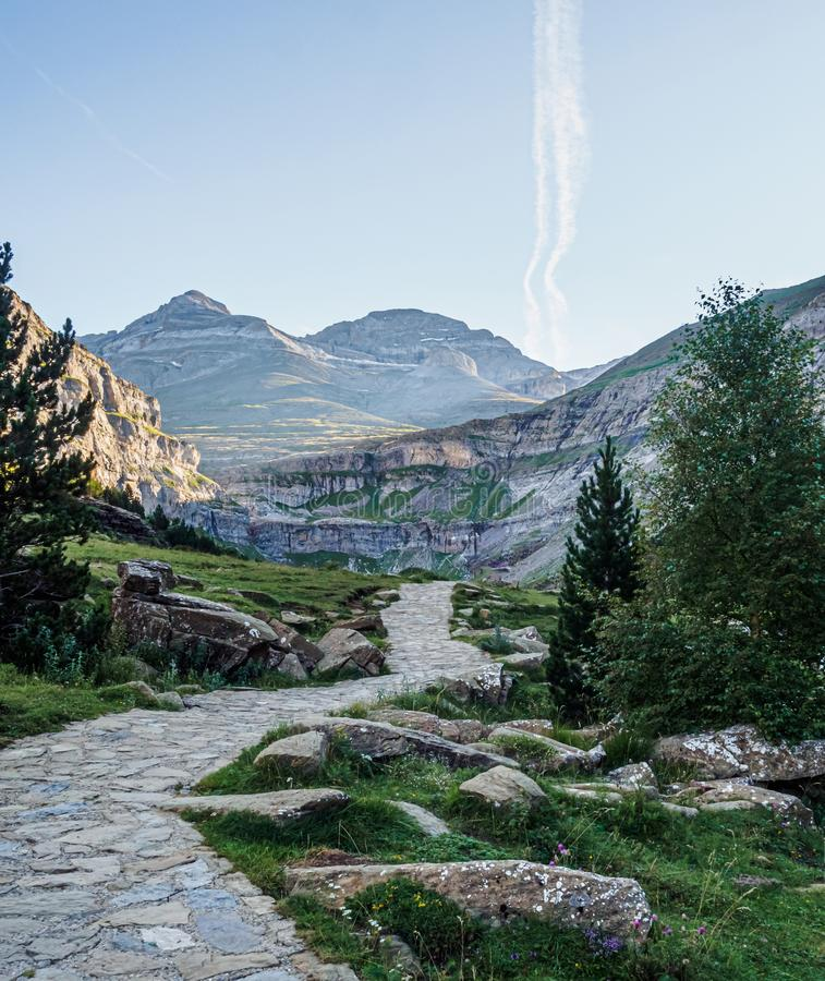 Path in the Arazas river valley in the Ordesa y Monte Perdido national park in the Pyrenees stock photos
