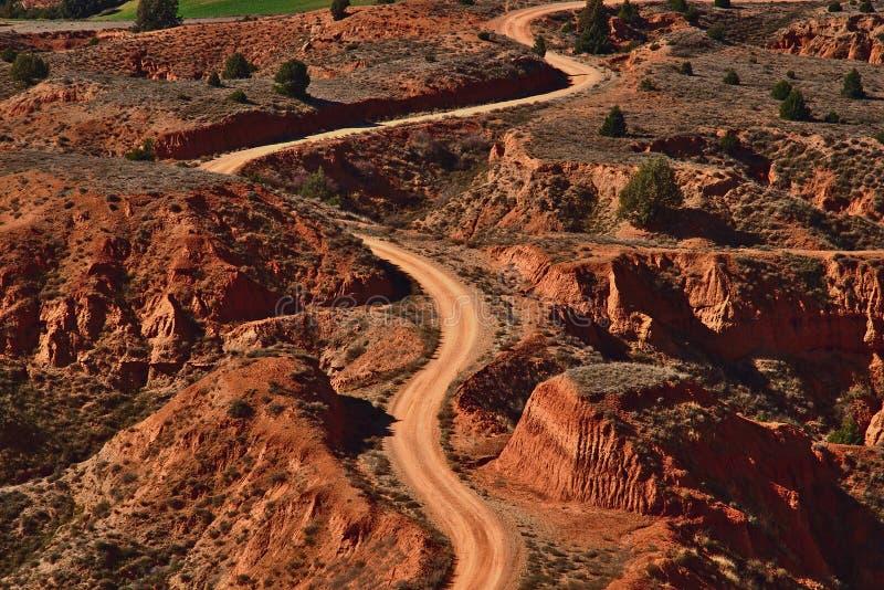 Path through an arid landscape royalty free stock photo