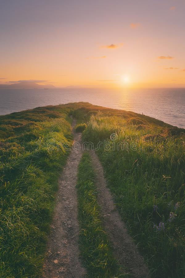 Path with beautiful light and vintage filter effect. Path with beautiful light and a vintage filter effect stock image