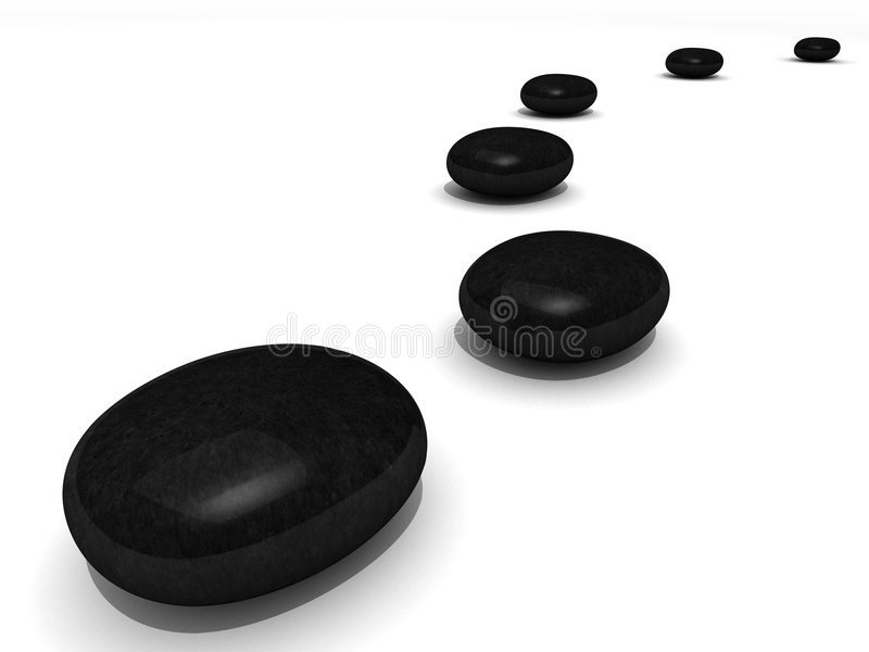Path of black spa stones. Over white vector illustration