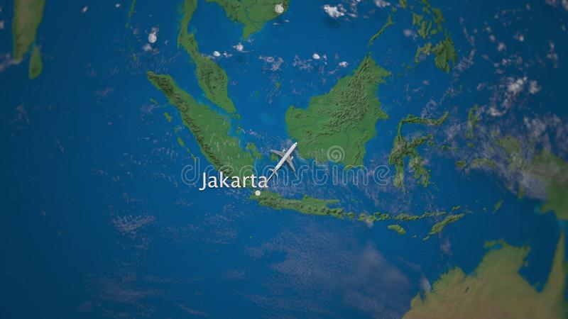 Route of commercial airplane flying from Jakarta to Tokyo on the Earth globe. International trip intro animation stock illustration