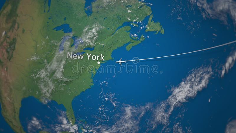 Route of commercial airplane flying from to New York on the Earth globe. International trip 3D rendering stock illustration