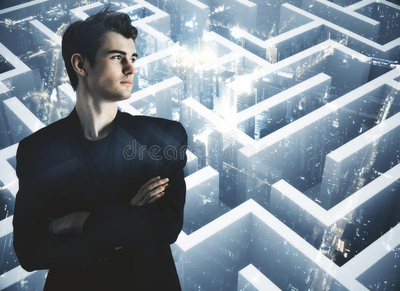 Path concept multiexposure. Thoughtful young businessman on abstract city background with maze, labyrinth. Path concept. Double exposure royalty free stock photos