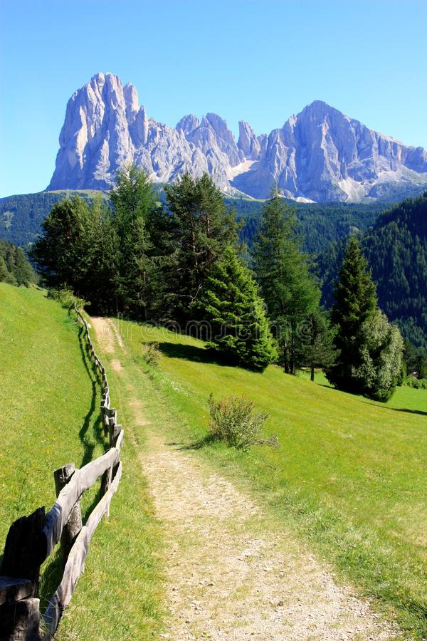 Path in the Dolomites mountains, Italy stock photos