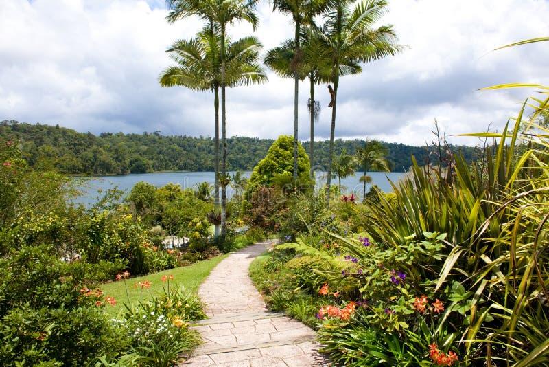 Path through flowering garden to Lake, Queensland, Australia stock photos