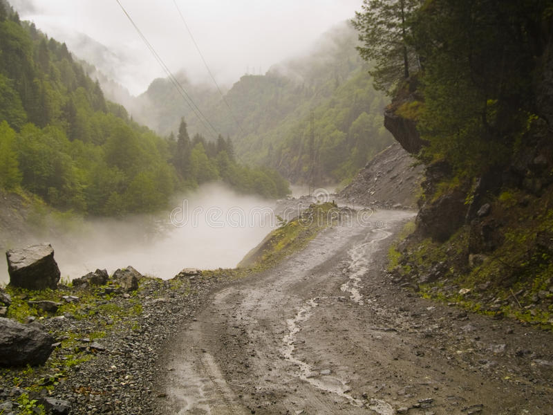Path in fog royalty free stock photo