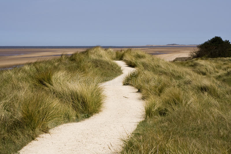 A path leading across the sand dunes stock photo