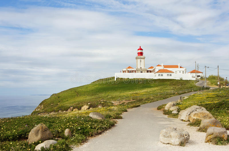 The path leading to the lighthouse. Cape Roca. Portugal. The westernmost point of Europe. horizontal stock photo
