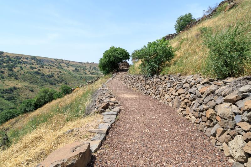 The path leading to the ruins of the ancient Jewish city of Gamla on the Golan Heights destroyed by the armies of the Roman Empire. The path leading to the ruins royalty free stock images