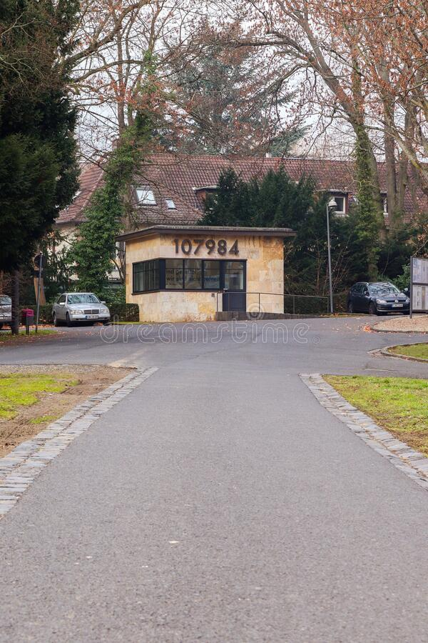 Path leading to the Wollheim Memorial. Path leading to Wollheim Memorial, a Holocaust memorial at Goethe University in Frankfurt, Germany royalty free stock image