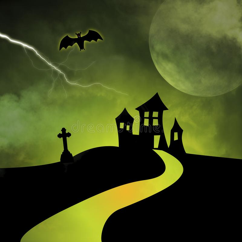 A path leads to a haunted house silhouetted  against a stormy green sky. A path leads to a silhouetted haunted house - the moon is rising and lightning fills the stock illustration