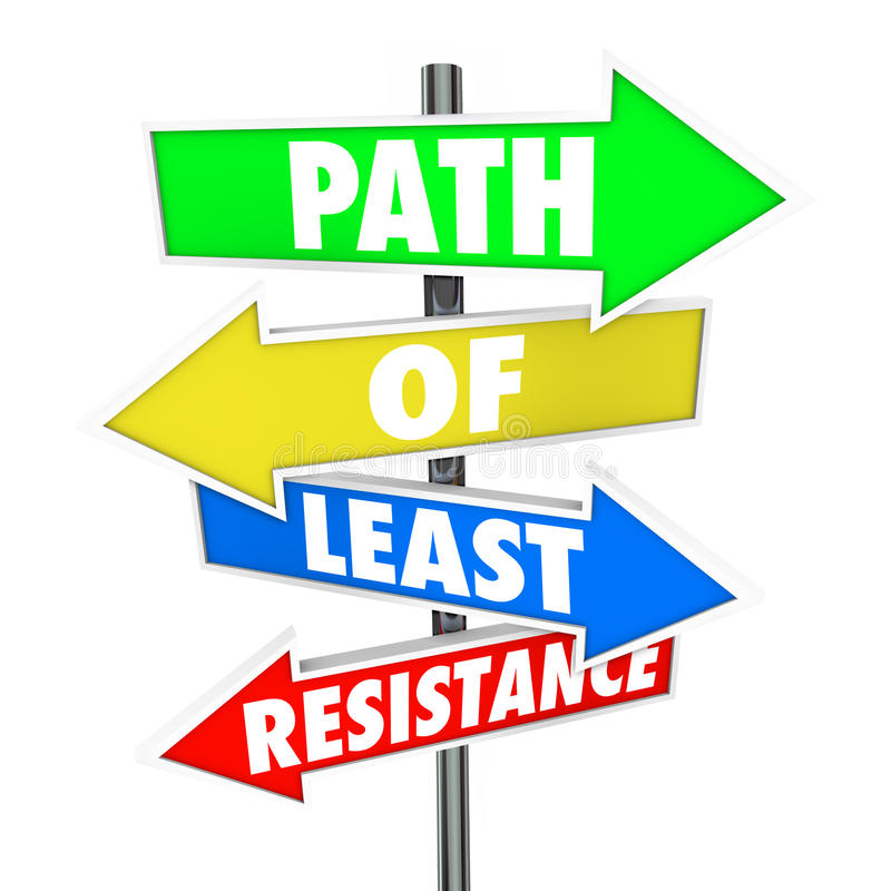 Path of Least Resistance Word Arrow Signs Avoid Conflict Take Ea. Path of Least Resistance Words on colored arrow signs pointing you to take the easiest route or vector illustration