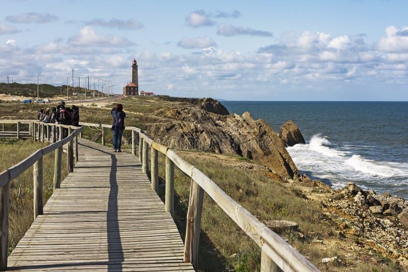 Path of Lighthouse of Penedo da Saudade royalty free stock photos
