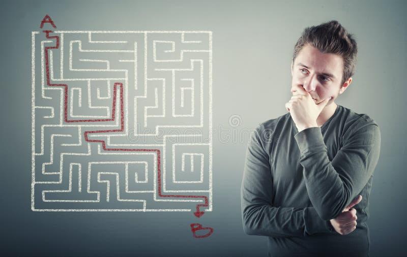 Path through the maze. stock photo